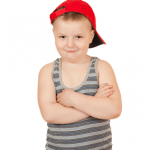chubby kid in red hat